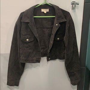 Cropped black corduroy jacket